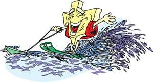 Texas water-skiing. Texas shaped cartoon water-skiing Stock Illustration