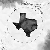 Texas watercolor us state map in black colors. Welcome to Texas poster with airplane trace and handpainted watercolor Texas map on crumpled paper. Vector Royalty Free Stock Photography