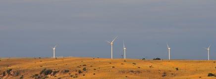 Texas Windmills con el cielo azul y las ondas de oro de hierbas nativas fotos de archivo