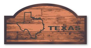 Texas Wooden Sign. Texas map wooden store sign over a white background Stock Photos