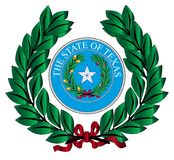 Texas Wreath and State Seal. A wreath with the Texas state seal over white Royalty Free Stock Photo