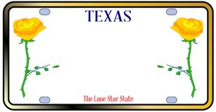Texas Yellow Rose License Plate. Texas License Plate in red white and blue withyellow rose motif over a white background Royalty Free Stock Images