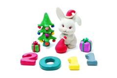 Text 2011, Rabbit, Gifts and Christmas Tree Royalty Free Stock Photo