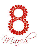 Text 8 March for International Womens Day. Vector illustration of a decorative text 8 March  in red color on white isolated background  for International Womens Stock Photos
