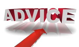 """Advice. Text """"advice"""" in large silver and red 3D letters with big red arrow underneath, white background with shadows Stock Image"""