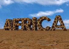 Text Africa. 3d text in dry desert of Africa stock illustration