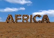 Text Africa. 3d text in dry desert of Africa royalty free illustration