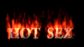 Text animation of the words HOT SEX burning on fire stock video footage