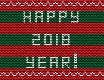 Text 2018 anos feliz em fundo feito malha vermelho e verde listrado Imagem de Stock Royalty Free