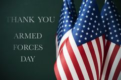 Free Text Armed Forces Day And American Flags Royalty Free Stock Image - 116634526