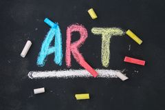 The text of the art is drawn with colorful chalk on a chalkboard. The text of the art is drawn with colorful chalk on a chalkboard stock photos