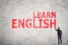 Text auf Wand, lernen Englisch stockfotografie
