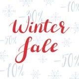 Text auf Winter Background Beschriften auf dem Hintergrund von Schneeflocken und von Rabatten vektor abbildung