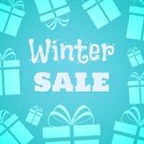 Text auf Winter Background Geschenkikonen auf dem hellblauen Hintergrund Vektorillustration für Saisonförderung, Winterurlaube vektor abbildung