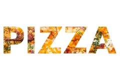 Text av pizza vid pizza Arkivfoto