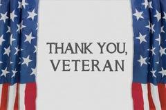 Text av tackar dig, veteran som visas på teater Royaltyfri Fotografi