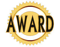 Text award on a gold circle on a white background Stock Photography