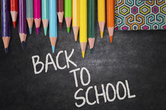 Text of back to school with colored stationery Stock Image