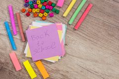 Text back to school with school supplies. On desk Royalty Free Stock Image