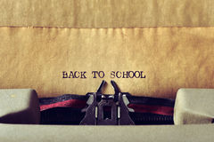 Text back to school written with a typewriter Royalty Free Stock Image