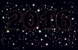 Text 2016 on background of night sky Royalty Free Stock Image