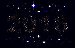 Text 2016 on background of night sky. Illustration in vector format Royalty Free Stock Images