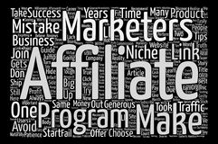 Text Background Word Cloud Concept. Costly Mistakes Affiliate Marketers Make In Their Career Word Cloud Concept Text Background Royalty Free Stock Photography