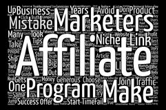 Text Background Word Cloud Concept. Costly Mistakes Affiliate Marketers Make In Their Career text background word cloud concept Stock Image