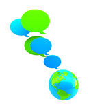 Text balloons above earth Royalty Free Stock Images