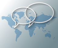 Text balloons with world map background Royalty Free Stock Images