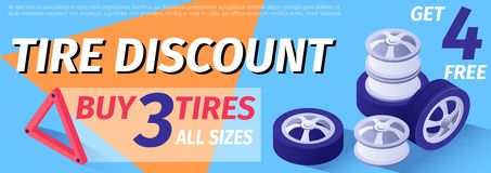 Text Banner Advertises Tire Discount, Sale Offer stock illustration