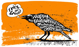 Text Banner with a raven. Happy Halloween. Text Banner with a raven Royalty Free Stock Photography