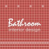 Text bathroom interior design. Tile design. Red square tiles with decor. Royalty Free Stock Image