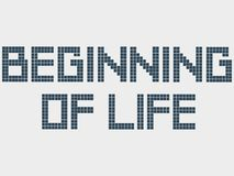 Text beginning of life. Old computer font, squares, staircase effect. Pixel square font. Alphabet letters. Typeface. Text beginning of life. Old computer font stock illustration