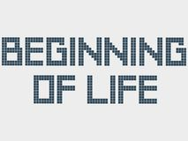 Text beginning of life. Old computer font, squares, staircase effect. Pixel square font. Alphabet letters. Typeface Stock Photos