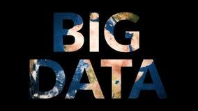 Text big data revealing turning earth globe