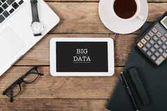 Text Big Data on screen of table computer at office desk Stock Image