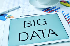 The text big data in the screen of a tablet Stock Image