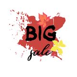 Text Big Sale, discount banners.Red leaves with grunge elements,. Ink drops, abstract background. Vector illustration Vector Illustration