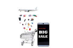 Text Big sale on smartphone with shopping cart ,Online Payment a Stock Image