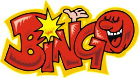 Text bingo. Funny text bingo isolated on white background stock illustration
