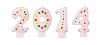 2014 text from birthday candles. On a white background Royalty Free Illustration