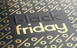 Black Friday Event Background With Golden Percent Symbols royalty free illustration