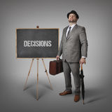 Text on  blackboard with businessman Royalty Free Stock Photography