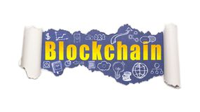 The text blockchain behind torn white paper. The text blockchain with business and web icons behind torn white paper stock images