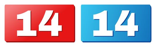 14 Text on Blue and Red Rectangle Buttons. 14 text on rounded rectangle buttons. Designed with white caption with shadow and blue and red button colors vector illustration