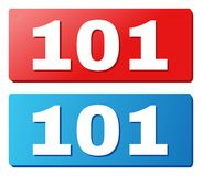 101 Text on Blue and Red Rectangle Buttons. 101 text on rounded rectangle buttons. Designed with white caption with shadow and blue and red button colors royalty free illustration