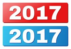 2017 Text on Blue and Red Rectangle Buttons. 2017 text on rounded rectangle buttons. Designed with white title with shadow and blue and red button colors Royalty Free Stock Photo