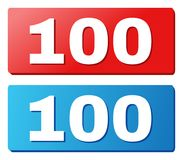100 Text on Blue and Red Rectangle Buttons. 100 text on rounded rectangle buttons. Designed with white title with shadow and blue and red button colors Stock Illustration