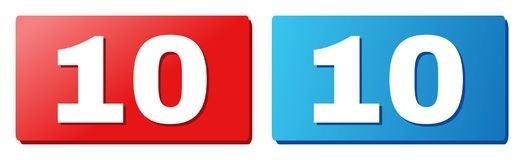 10 Text on Blue and Red Rectangle Buttons. 10 text on rounded rectangle buttons. Designed with white title with shadow and blue and red button colors stock illustration